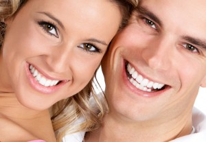 smiling couple white teeth