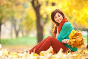 Smiling Girl Fall Leaves