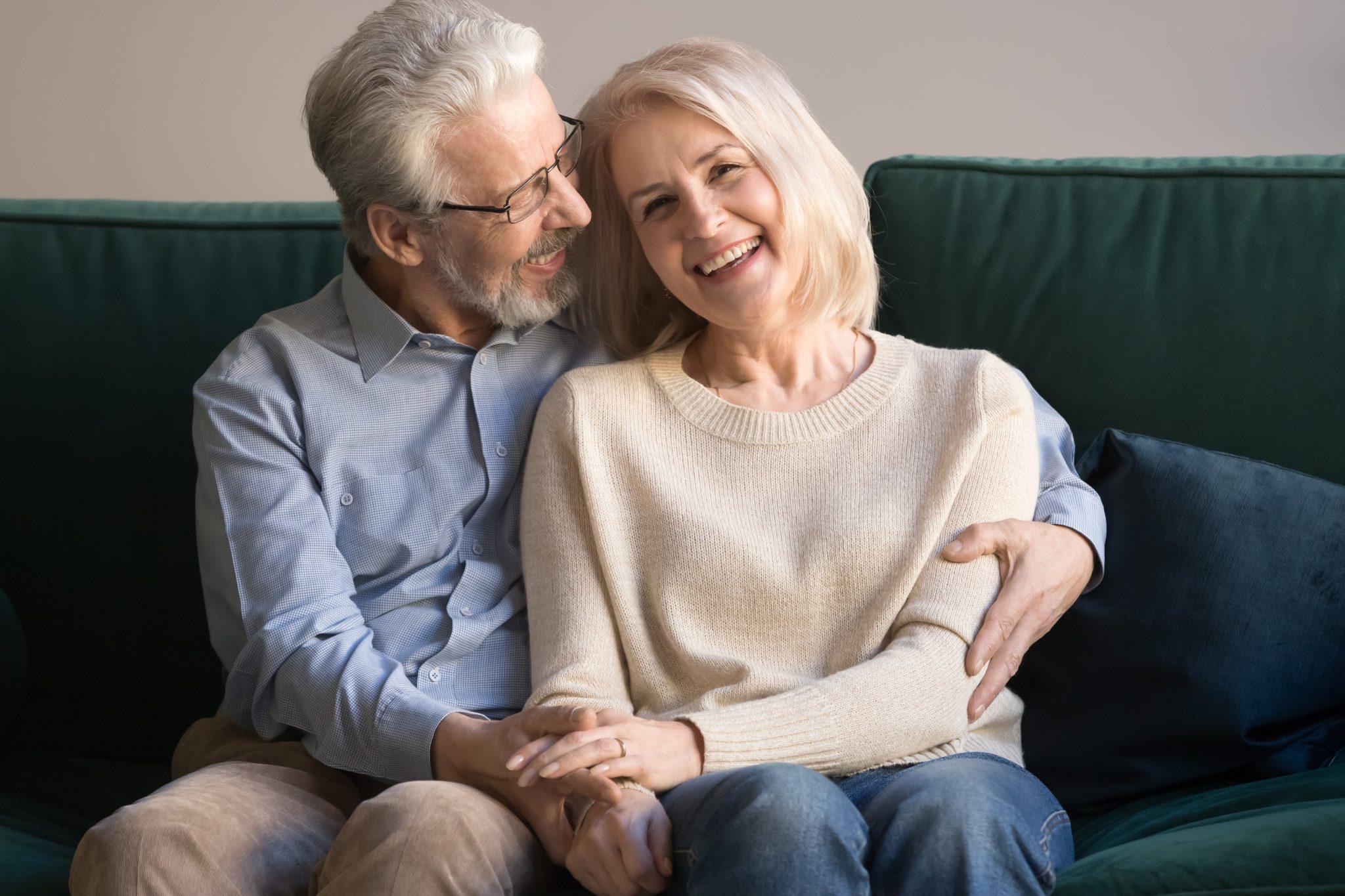happy senior couple full smiles